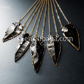 New!! Sideways Arrowhead Double Bail Black Obsidian necklace with 24k Gold Electroplated