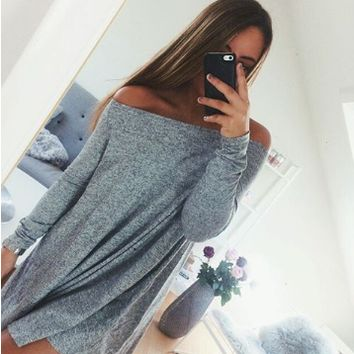 Gray Off Shoulder Long Sleeve Loose Dress