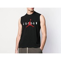 AIR JORDAN Tide brand men's loose round neck sleeveless sports vest Black