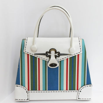 Vintage 60s Mahler Canvas and Leather Handbag / White Multi-color Striped Large Tote
