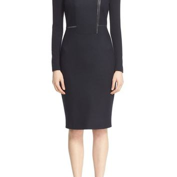Max Mara 'Edro' Lambskin Leather Trim Jersey Dress | Nordstrom