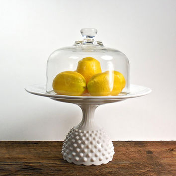 Upcycled Milk Glass Cake Stand with Glass Cloche