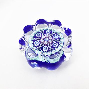 Perthshire Paperweight, Spoke and Wheel, Cobalt Blue Base, Concentric Millefiori Glass, Vintage Paperweights
