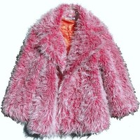 Hot Pink White Frost Faux Fur Pimp Coat