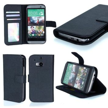 Black Luxury PU Leather Wallet Case Stand Hard Cover for new HTC One M8 2014