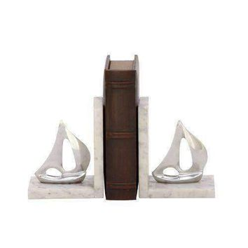 49664 Stunning Aluminum Marble Bookend Pair