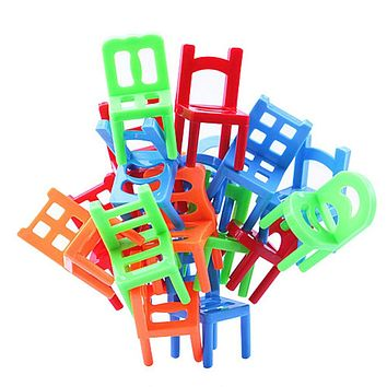 18pcs Mini Chair Assembly Blocks Plastic Balance Toy Stacking Chairs Kids Desk Educational Play Game Balancing Training Toys