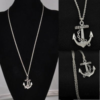 Hot Vintage Cute Silver Retro Anchor Alloy Long Chain Pendant Necklace = 1946068420