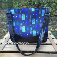 Police Box in Blue - Handmade Charlotte City Tote Purse with Glitter Vinyl