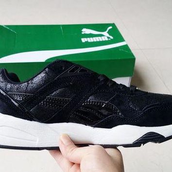 DCCKIJ2 Puma Trinomic R698 Crackle Suede Running Sport Casual Shoes Sneaker Black