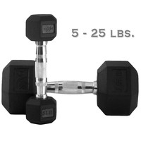 XMark 5 lb. to 25 lb. Rubber Hex Dumbbell Set XM-3301-150S
