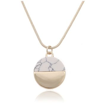 Marbled Faux Stone Pendant Necklace