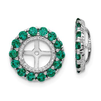 925 Sterling Silver Rhodium Diamond and Created Emerald Earring Jacket 70f3f9bc10