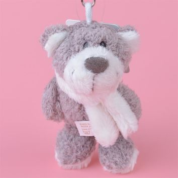 3 Pcs Grey Color Bear Small Plush Pendant Toy, Kids Doll  Keychain / Keyholder Gift Free Shipping
