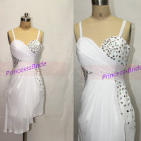 Cheap white chiffon homecoming dress in 2014,chic short women dresses for holiday party,simple elegant prom gowns under 150.