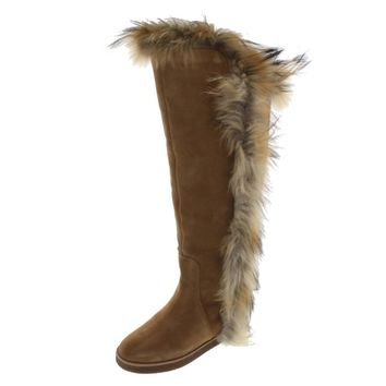 Koolaburra Womens Sasha II Suede Rabbit Fur Trim Riding Boots