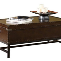Trunk Coffee Table Lift-Top Contemporary Living Room Furniture Espresso Finish