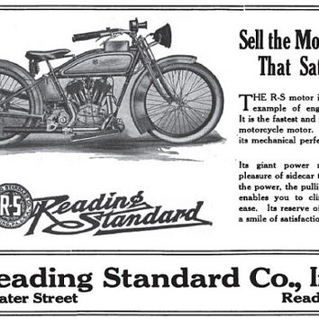 c.1919 Reading Standard Motorcycle Ad- 500 Water Street, Reading Pennsylvania  - : Old Antique Vintage Photograph Photo Print *Reproduction*