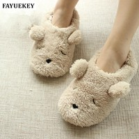 FAYUEKEY Autumn Winter Home Cartoon Dog Soft Plush Slippers Women Indoor\ Floor Warm Bedroom Slippers Shoes Girls Gift