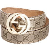 Gucci Guccissima Metallic Gold Leather GG Logo Belt