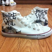 Pierce The Veil Shoes-Free Shipping, Hand Painted Shoes