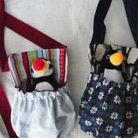 Polar Penguin or Puffin Winter Holiday Stuffed Animal Carrier Pouch Your Choice of One
