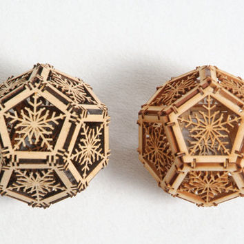 Two Wood Orbs, Home Decor, Geometric Ornaments, Laser Cut, Unique Design, Architectural