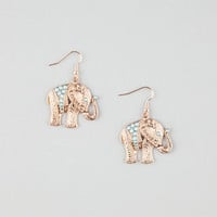 Full Tilt Etched Elephant Earrings Antique Gold One Size For Women 25970762301