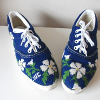 Royal Blue Needlepoint Tennis Shoes Size 6 by cookiekvintage