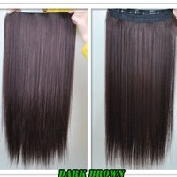 "8 Color 23"" Straight Full Head Clip in Hair Extensions Wwii101 (Dark Brown)"