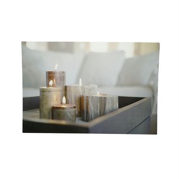 "LED Lighted Rustic Driftwood Style Candles on Tray Canvas Wall Art 15.75"" x 23.5"""