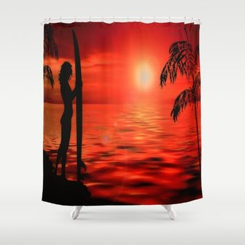 Surfer Sunset Shower Curtain by Inspired Images