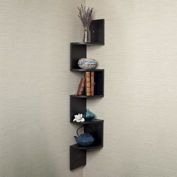 Danya B Zigzag Laminate Large Corner Wall Mount Shelf