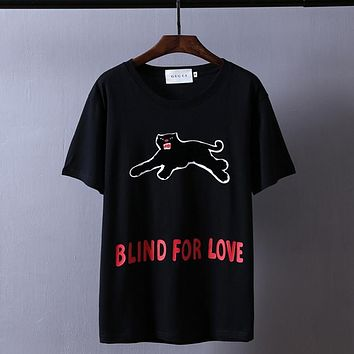 """Gucci""Hot Letters Print Short Sleeve T-shirt Top Black Leopard"