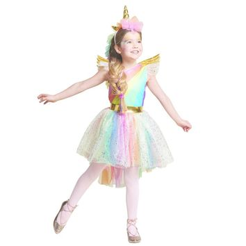 Cool Girls' Dress Rainbow Unicorn Party With Headband Halloween Christmas Cosplay Costume Kids 2018 Summer Dress Party DressAT_93_12