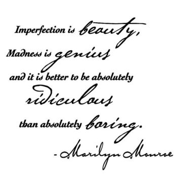 "Marilyn Monroe wall decal quote sticker ""- Imperfection is beauty..."""
