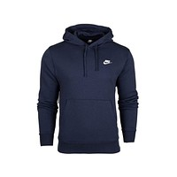 Nike Men's NSW Sportswear Club Fleece Pullover Hoodie Midnight Navy White