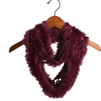 Cranberry - Micro Suede and Fur Infinity Scarf