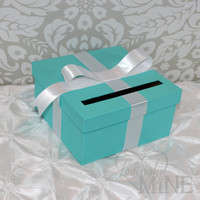 Card Holder - Tiffany & Co. Inspired Box - Tiffany Blue and White, Gift Money Box for Any Event - Breakfast At Tiffany's