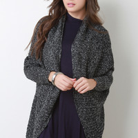 Marled Knit Open Front Dolman Sleeves Cardigan