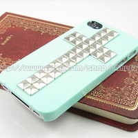 Green Iphone 4 4s case,Cross Silver studded iphone 4 4s case, stud studs Hard Cover Skin Iphone 4g 4s Case