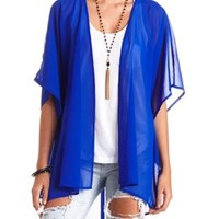 Strappy Lattice-Back Chiffon Duster Kimono Top - Bright Cobalt