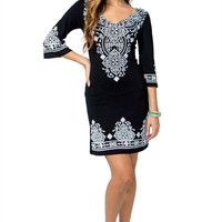 Puff Print Shift Dress