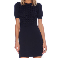 Red Valentino Short Sleeve Knit Dress in Navy