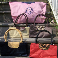 Foldable Monogram Tote in 3 Sizes