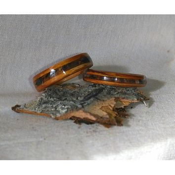 Caribou hoof and Willow his and hers bentwood ring set