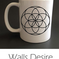 Seed Of Life, Sacred Geometry, Mug, Different Inside Color Selection, 11 Oz. T00060