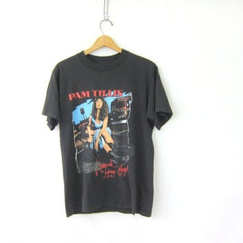 black Vintage 1992 Pam Tillis tshirt / Concert Tour tshirt / washed out / faded black cotton country music tee shirt