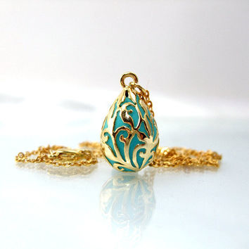 Teardrop necklace gold victorian pendant teal enamel jewelry trends 2012 handmade filigree