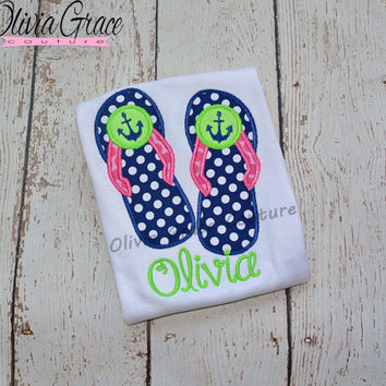 Girls Ancho Flip Flop Shirt, girls summer shirt, Beach Themed Embroidered Applique Bodysuit or Shirt